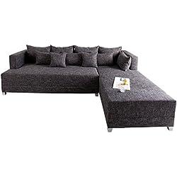 Design Ecksofa STAR Strukturstoff in grau charcoal inkl. Kissen, Bettkasten und Bettfunktion OT rechts