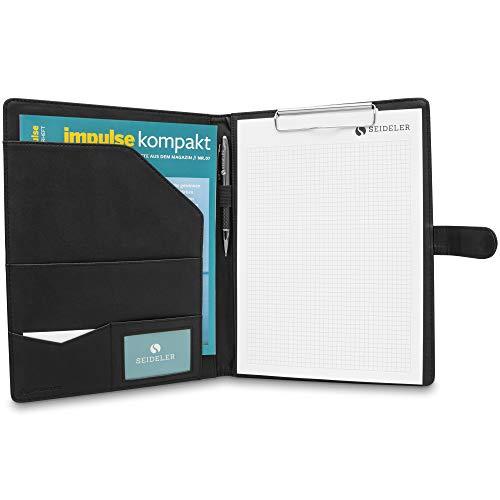 SEIDELER hochwertige Schreibmappe mit Klemmbrett A4 - praktische Klemmbrettmappe A4 mit Tablet-Fach