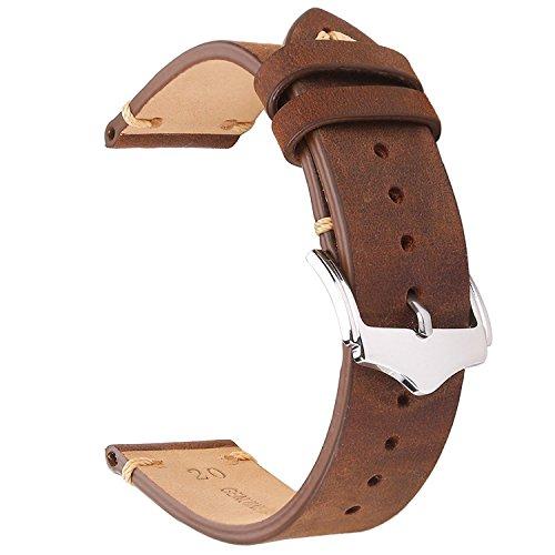 invella Genuine Leather Strap for Gear S3, Fossil Q Smartwatch, Huawei GT/Magic Smartwatch (22mm-Gen-L)