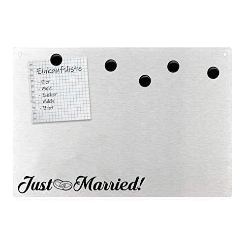 Just Married - Lavagna magnetica da parete Anelli, amore, matrimonio, in acciaio inox, magnetico.