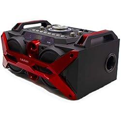 Altavoz Bluetooth Portátil Función de Karaoke. Bluetooth Speaker MP3, USB y Mando a distancia. Altavoz Efecto de Luces Led Multicolores con Batería Recargable y Radio Integrada - Lauson SS-308
