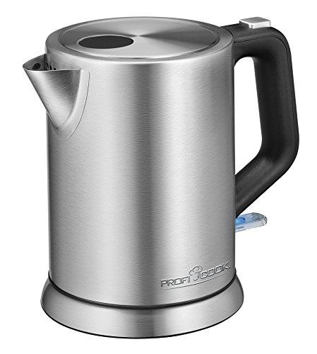ProfiCook PC-WKS 1106 Edelstahl-Wasserkocher, 1 Liter, maximal 1850-2200 Watt, Wasserstandsanzeige, inox
