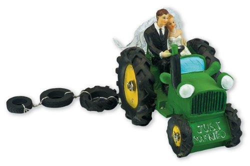 Club Verde Resina de Novia y Novio en Tractor, Verde, 140x 90x 110mm
