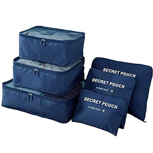 Oxbow® 6 Set Travel Packing Cubes, Luggage Compression Pouches, Multi-Functional Storage Bag, Travel Luggage Organizer, Suitcase Compression Pouches (40 * 30 * 12Cm) (Navy Blue)