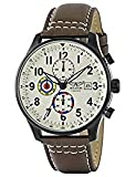 Aviator Men's Chronograph Watch Pilots Watch Vintage AVW2044G292Brown Leather Watch