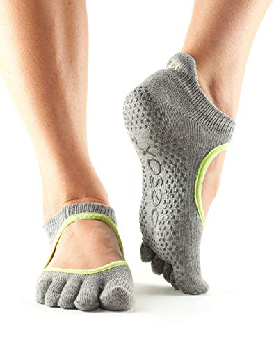 Toesox Ytoewtbellarinahgll, Calze per Yoga E Pilates Unisex – Adulto, Heather/Lime, Large