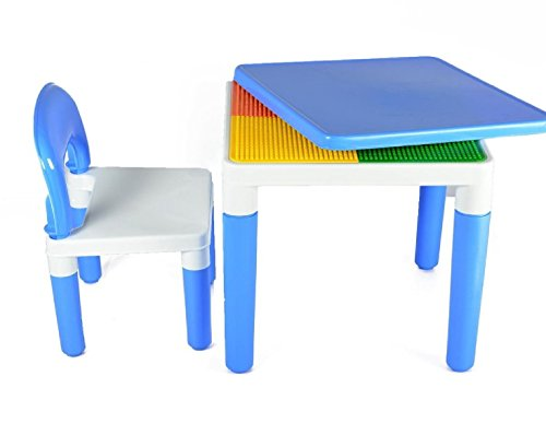 Toyshine 2 in 1 Building Blocks Cum Study or Play Table with 2 Chairs, Blue
