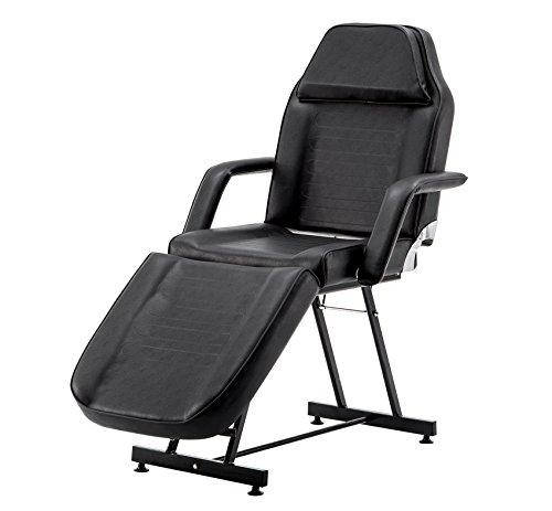 BarberPubLettino Da Massaggio Professionale a 3 Sezioni Lettino Per Lettino Terapia Facciale Tattoo Salon Reiki Healing Table Chair 0015 (Nero)