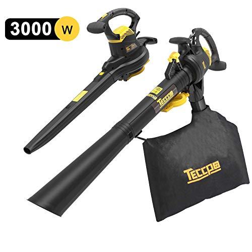 TECCPO Laubsauger,3000W Laubbläser & Laubsauger & Häcksler, 3-in-1-Funktion mit 40L Fangsack, variable Windgeschwindigkeit: 210-350km/h - TABV01G