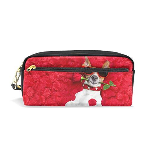 Ahomy matita penna casi di San Valentino rose jack Russell cane con doppia cerniera Grande trucco...