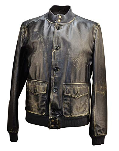 Bomber Pelle Stewarts Vintage Made in Italy Teasta Moro (L)