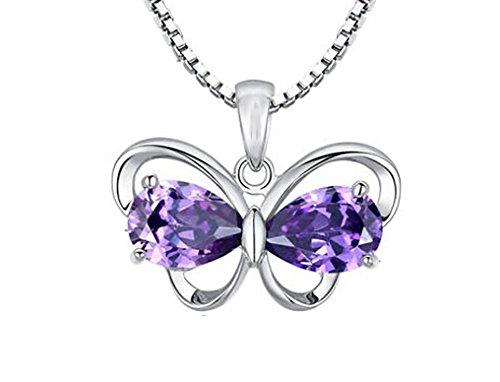 Descubrir para mujer swarovsky element 925 plata Amatista collar con colgante de mariposa, para mujer (f1608)