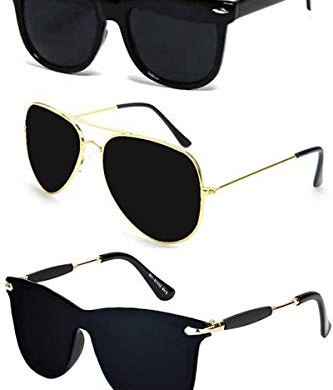 Sheomy New Arrival Special Collection of Festive Seasons Black Color Unisex UV Protected Avaitors, Aviators and s Sunglasses Combo Ideal for Boys, Girls, Men, Women Way fairs 23