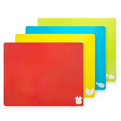 Set di 4 Taglieri Colorati da Cucina Plastica Flessibile Antibatterico Tagliere Professionali...