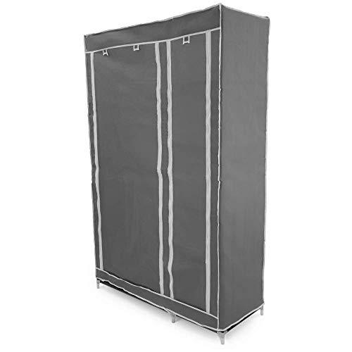 PrimeMatik - Armadio Guardaroba in Acciaio Tessuto 110 x 45 x 175 cm Doppio Grigio con serranda