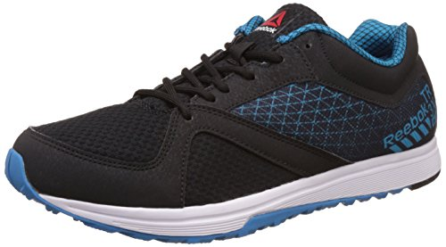 Reebok Men's Reebok Train Black, Far Out Blue and White Leather Multisport Training Shoes - 8 UK/India (42 EU)(9 US)