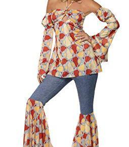 Smiffy's Smiffys-39434X1 Disfraz Vintage De Hippy De Los Años 70, Con Parte De Arriba, Multicolor, XL - EU Tamaño 48-50 39434X1