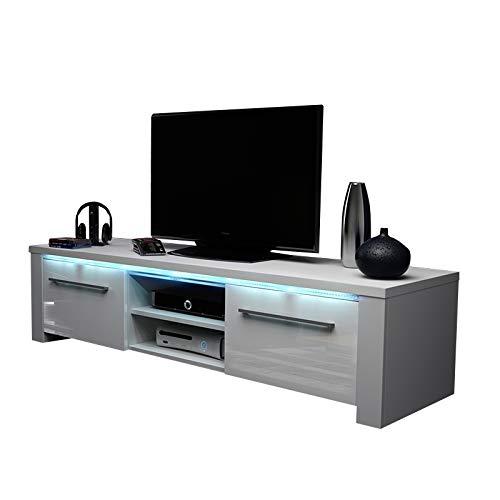 Messa - Mobile TV con 2 armadietti e 2 vani aperti (140 cm, con illuminazione a LED), colore: Bianco