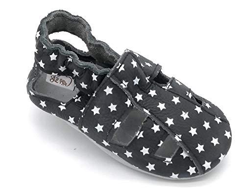 LEPEPPE - Sandali Aperti - Scarpine in Pelle Prima Infanzia - Pantofole Babucce - Bambina - Nido - Materne - Suola Pelle Antiscivolo - Fino al 28/29 - Sandalo Stelline (XL - (15,5 cm di Suola))