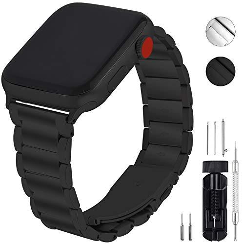 GerbGorb Cinturino Compatibile per Apple Watch, Cinturino in Acciaio Inossidabile per iWatch Serie 5/4/3/2/1, Watch band per iWatch,42mm Nero+ Hardware Nero
