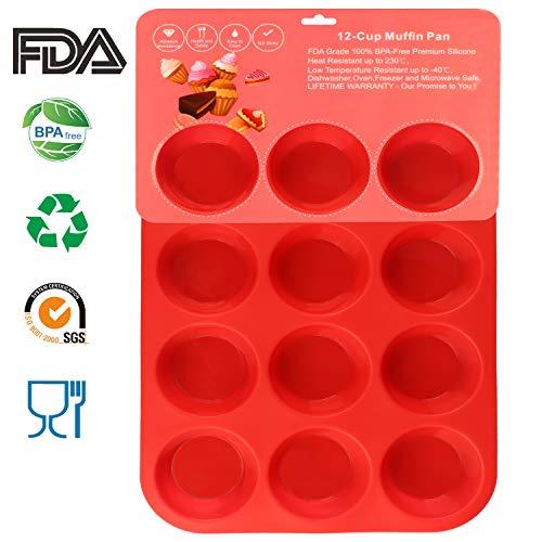 Philonext Pan - Vassoi per Muffin, 12 Tazze, in Silicone, per Cupcake, 32,7 x 24,5 x 2,8 cm, Colore:...