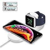 MASOMRUN Chargeur sans Fil pour iPhone X/XS/Max / 8/8 Plus et Apple Watch, Chargeur à Induction Rapide pour Samsung Galaxy Note et Autres appareils compatibles Qi