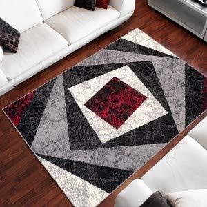 TAPISO Dream Tappeto Soggiorno Salotto Moderno Grigio Rosso Geometrico Quadrato A Pelo Corto 200 x...