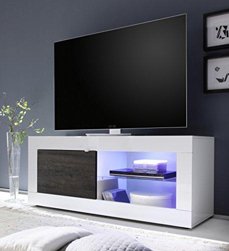 Arredocasagmb.it Mobile Porta TV Moderno Bianco Lucido Legno Wengè Stand 01
