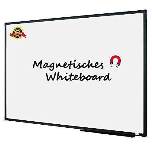 Lockways Whiteboard - Magnetisch Stabil Praktische - Weißtafel 80 x 110 cm schwarz Aluminiumrahmen für Schule, Wohnung und Büro