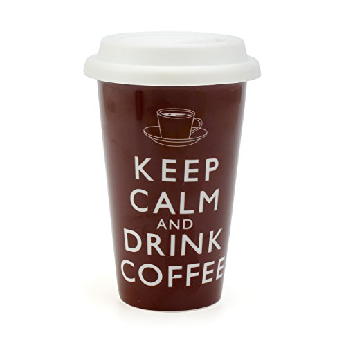 Robert Taubman Ltd - Tazza in ceramica a doppio strato, con coperchio in silicone e scritta Keep Calm and Drink Coffee