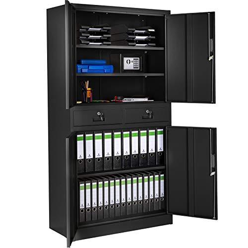 TecTake 402939 - Armadio di Ufficio chiudibile con 2 Cassetti, 2 Vani armadio con 2 o 3 Scomparti