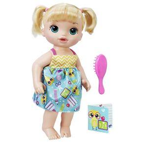 Baby Alive - B7223 - Muñeca Blonde Ready For School con Traje - Hasbro - Libro - Cepillo