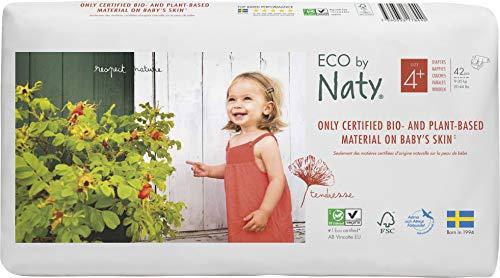 Eco by Naty, Taglia 4+, 84pannolini, 9-20kg, Pannolino ecologico premium a base vegetale con lo 0% di plastica a base di petrolio sulla pelle.