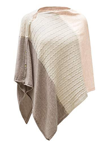 PULI Damen Strickschal mit Knopfleiste und Poncho-Decke, Umhang, Strickjacke, Einheitsgröße