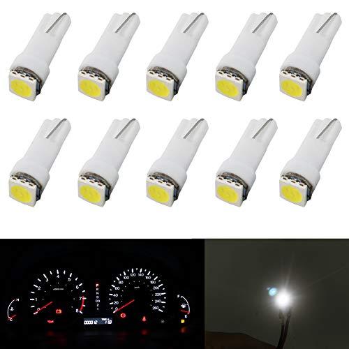 Lampadina t5 led cruscotto bianca 12V Lampadina cuneo led auto 1-SMD 5050 Sostituire 74 37 286 18 27 (confezione da 10)