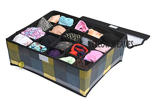 Yellow WeavesTM Undergarments Organizer/Foldable Storage Box with Lid for Drawers, Color - Multi 1