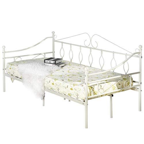 Aingoo Tagesbett Metallbett mit Bettrahmen für Schlafzimmer Wohnzimmer (Creme weiß)