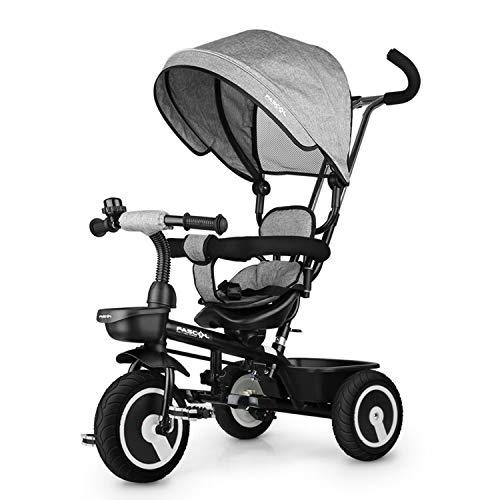 Fascol 6 in 1 Triciclo per Bambini con Sedile Girevole Adatto per età 12 Mesi - 5 Anni (Grigio)
