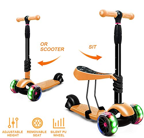 Magicwand® 3-in-1 Sit & Stand Wide Platform Height Adjustable Kick & Push Scooter for Kids with Removable Seat (Orange)