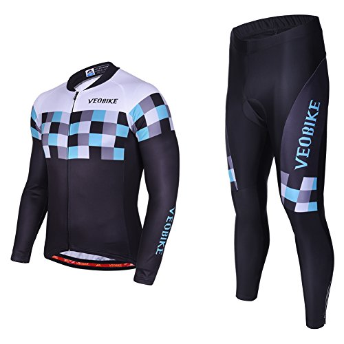 Asvert Malliot de Ciclismo Hombre 3D Cojín Conjunto Bicicleta de Montaña Ropa+Pantalones Culote de Ciclista Largo Transpirable y Elástico para Primavera y Verano (L, Speed)