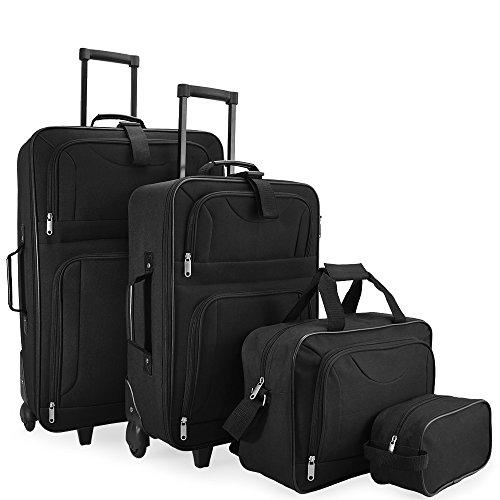 Deuba valigie set 4pz bagaglio trolley valigia borsa da viaggio beauty case sistema cinghie a scatto...