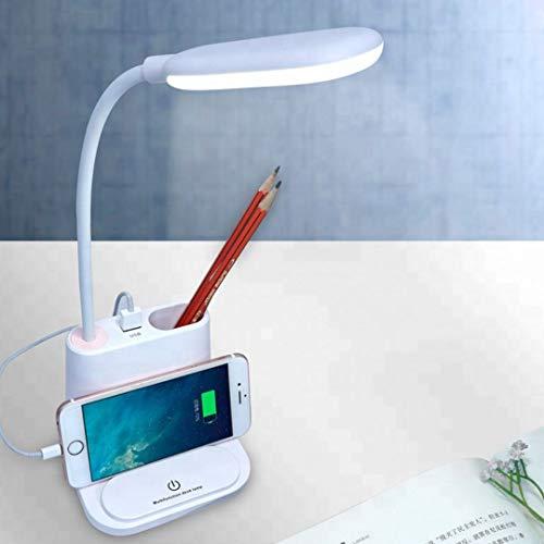 Giftana® USB Rechargeable LED Desk Lamp Touch White and Warm Light Dimming Setting Table Lamp for Children Reading Study 1200Mah Power Bank Pen Holder and Phone Multi-Functional Desk Lamp (White)
