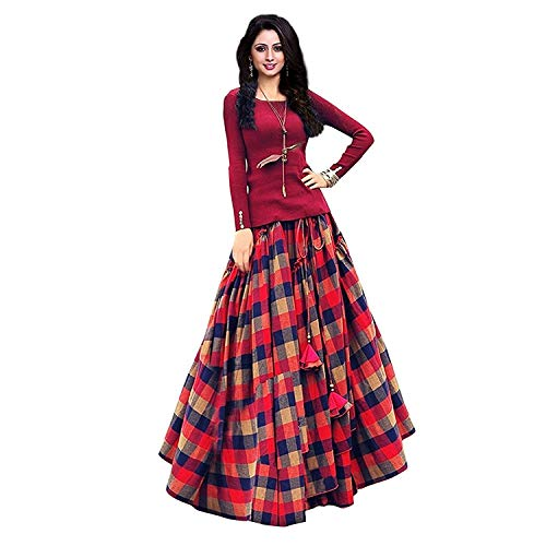 CORRI Fashion Women's Bangalore satin Long Skirt Gown And Top (Red_ Free Size)