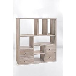 """Regal """"Heike 3"""", Sonoma Eiche Dekor, 7 Fächer, 4 Schubladen, 90x105x32,5cm, Holzregal, Raumteiler"""
