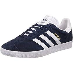 adidas Gazelle, Sneakers basses mixte adulte, Bleu (Collegiate Navy/White/Gold Met), 43 1/3 EU