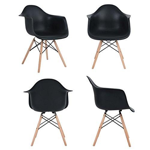 Ajie-Retro-Stuhl-weie-Sitzschale-mit-Armlehnen-auf-massiven-Holzbeinen-verschiedene-Stckmengen