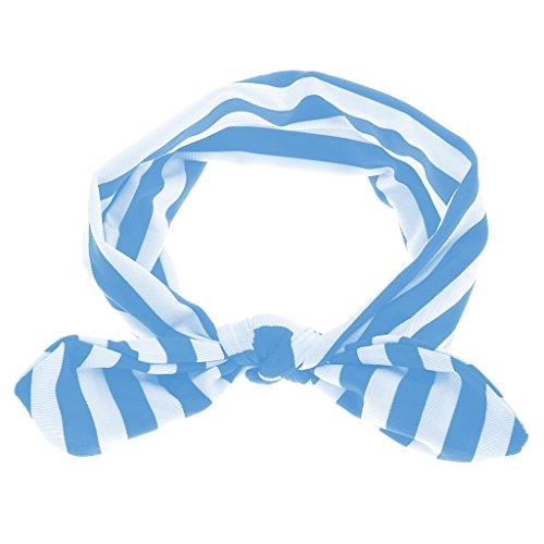 Generic Hot Baby Girls Kids Cute Bow Headband Stripe Hairband Turban Soft Headwear Accessories (Blue)