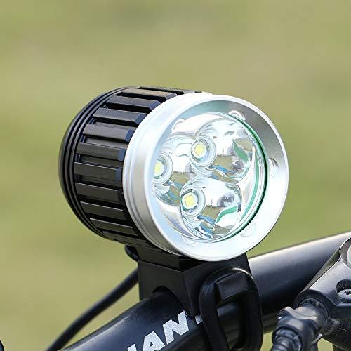 GHB Faro per Bici Faro MTB 3X CREE XM-L T6 3600LM 4 Modalità Ricaricabile con Fanale Posteriore Per...