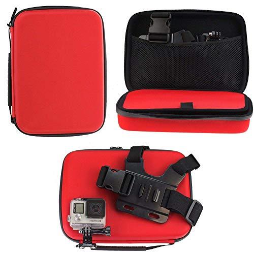 Navitech - Rosso Custodia per videocamere d'azione Compatibile con Topop OD009B-SVESK3 | Toshiba...