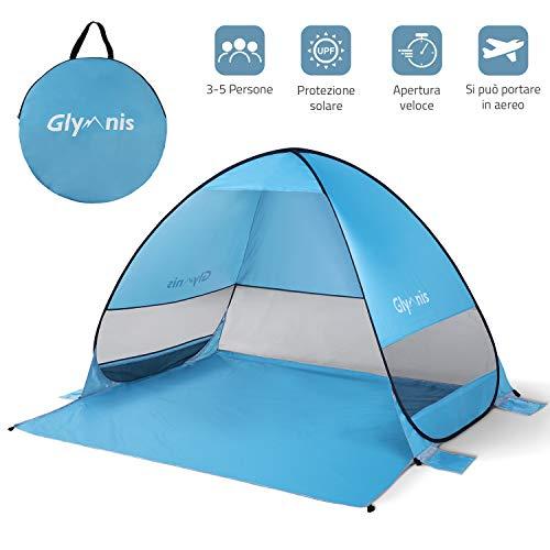 Glymnis Tenda da Spiaggia per Esterni Portatile3-5 Persone Parasole Spiaggia Pop UP, Protezione...